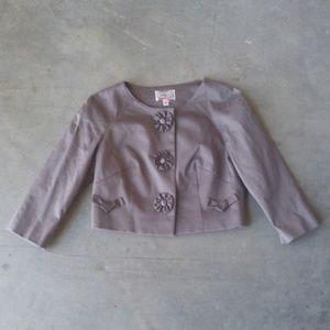Yoana Baraschi Rosette Gray Cropped Jacket size 6
